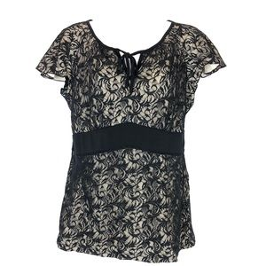 Alfani M Top Black Nude Lace Stretch Tie Neck A